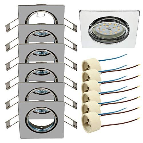 Trango Conjunto de 6 Focos empotrables en cromo cuadrado TG6729-068S Focos empotrables, focos de techo, encastres empotrados, plafones, incluido zócalo de cerámica GU10 6x