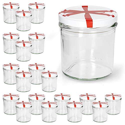 Sturzgläser 20er Set 350 ml to 82 weißer Deckel mit Schleifendekor Marmeladenglas Einmachglas Einweckglas