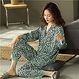ML S HJDY Pijamas para Mujer Servicio De Vivienda Traje para Mujer Flojo Casual Cardigan Cardigan De Manga Larga Simulación De Simulación Pijama Set,Verde,M