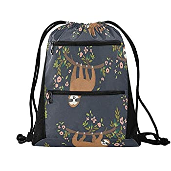 Drawstring Backpack Bag for Men Women With Pockets for Teen Boys Girls So Cute Sloth Funny