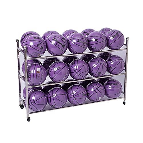 JIAYING Estante de Pelota Rolling Sport Balls Cart Metal Ball Storage Rack, Freestanding Baloncesto Rack Deportes Pelota De Deporte, Para Gimnasio Familia Gimnasio Almacenami(Size:3 Tier,Color:Silver)