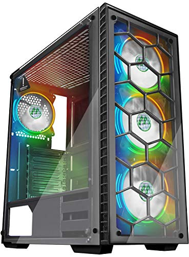 MUSETEX Phantom Black ATX Mid Tower Desktop Computer Gaming Case USB 3.0 Ports Tempered Glass Windows with 120mm LED RGB Fans Pre-Installed ((903S4) 4 RGB Fans