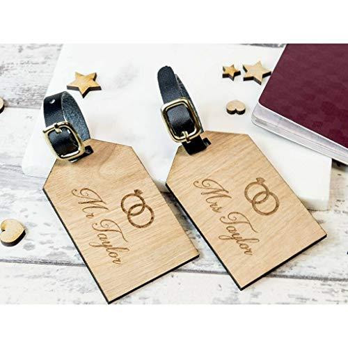 Personliased Gifts Market Etiquetas de Madera para Maleta con Texto en inglés Just Married, 2 Unidades
