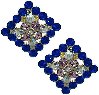 Marenda Gold tone Sapphire Pink AB Crystal Clip On Earrings