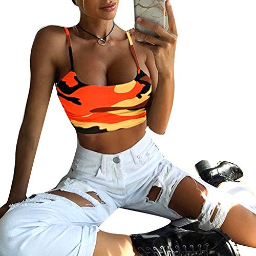 H87yC4ra Camo Deportes Chaleco Mujer Transpirable Sin Mangas Fitness Strappy Crop Top Naranja XXXL
