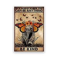 親切なレトロなポスター蝶と象ヴィンテージプリント動物アート壁の写真心に強く訴える引用キャンバス絵画家の装飾60x90cmフレームなし