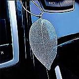 Ygmoner - Ciondolo a forma di foglia in lega per auto, realizzato a mano, decorazione da appendere per auto, colore: argento