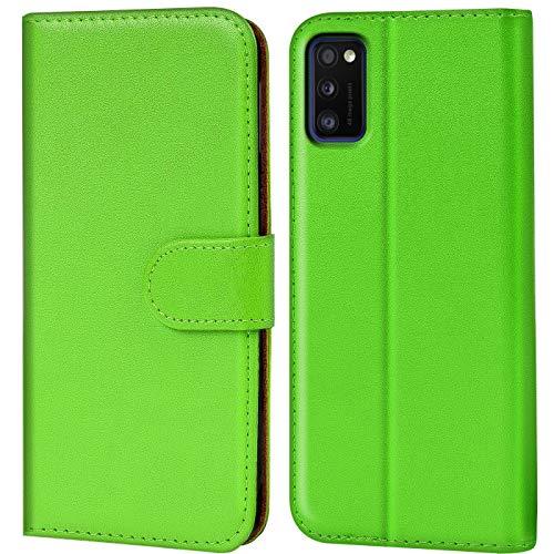 Verco Custodia per Samsung A02s, Case per Samsung Galaxy A02s Cover PU Pelle Portafoglio Protettiva, Verde