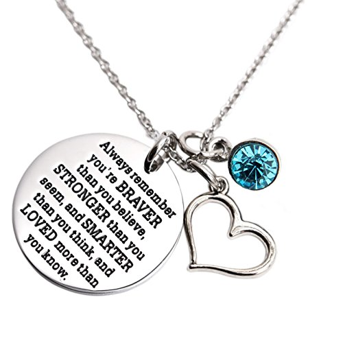 Always Remember You Are Braver Than You Believe Necklace with Birthstone Charm Jewelry Inspirational Gift (Dec-LT blue)