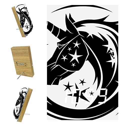 EZIOLY Reloj despertador digital con tatuaje de unicornio para pantalla de hora, temperatura LED, resina de madera, USB, con batería, ahorro de energía para dormitorio y oficina