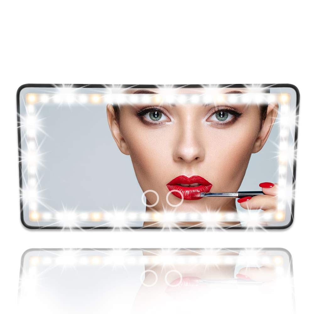 Amazon.com: Car Visor Vanity Mirror Car Makeup Mirror with LED Lights for  Car Truck SUV Rear View Mirror Sun-Shading Cosmetic Mirror Built-in Lithium  Battery (Black): Beauty