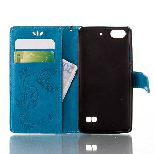 Kompatibel mit Huawei G Play mini Hülle,Huawei Honor 4C Hülle,Prägung Groß Schmetterling Blumen PU Lederhülle Flip Hülle Ständer Wallet Tasche Schutzhülle für für Huawei G Play mini/Honor 4C,Blau - 3
