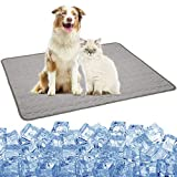 Pet Cooling Mat for Dogs Cats Puppy, Washable Dog Cooling Pad Blanket Ice Silk Sleeping Pad Blanket, Indoors&Outdoors Summer Self Dog Cooling Mats for Kennel Sofa Bed Cars (XL:40×28inch, Gray-2021)