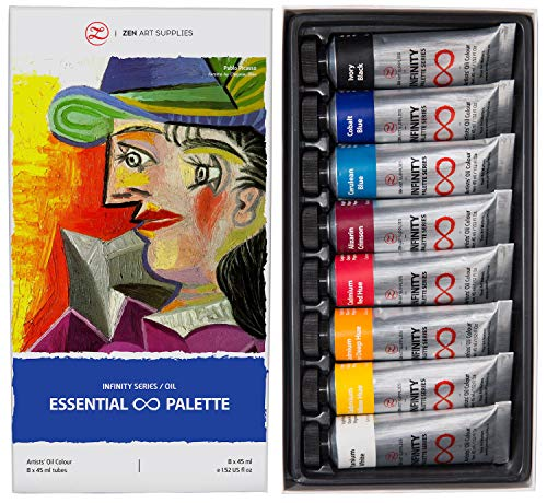ZenART Professional Oil Paints Set - 8 x Large 45ml Tubes - Essential Palette for Artists, Eco-Friendly, Non-Toxic, and Lightfast Paint with Exceptional Pigment Load - The Infinity Series