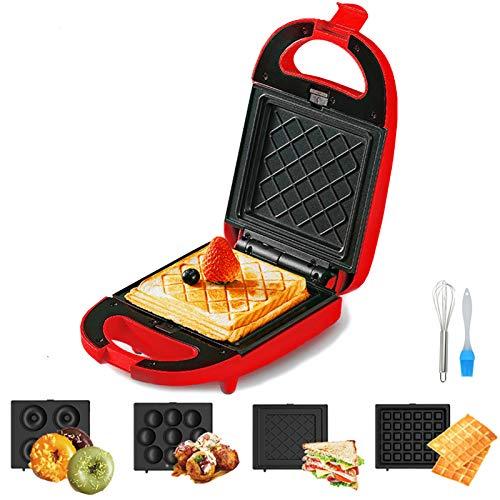 TTFGG 4 in 1 Sandwich-Toaster, Panini, Waffelmacher Mit Austauschbaren Anti-Stick-Platten, Leicht Zu Reinigen, 600W