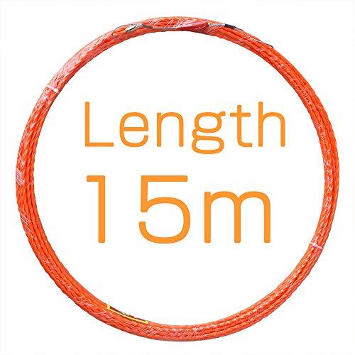 Einziehspirale Einziehdraht mit Führungsfeder Einziehband Kabeleinzug Fischband-Drahtzieher 15m Polyester Einziehhilfen in orangerot ideales Einzugsband zur Kabelverlegung