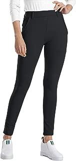 Women's Stretch Work Pull-On Yoga Dress Pants Skinny Leg Ankle Length Leggings with Pockets