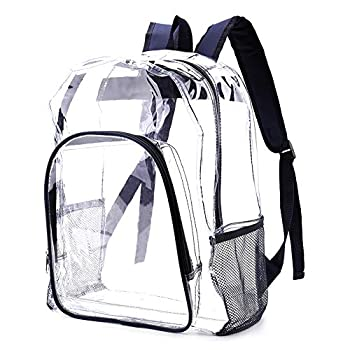 Heavy Duty Clear Backpack See Through Bookbag Stadium Approved Clear Backpacks for School Work Music Festival  16  Navy Blue
