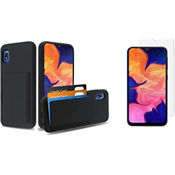 Slim Shockproof Case for Samsung Galaxy A10e with Tempered Glass Screen Protector and Atom Cloth - Black Bemz Duo Shield