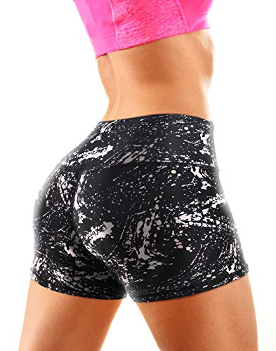HDE Womens Workout Shorts - Athletic Shorts for Women with Side Pockets & Hidden Back Pocket - Stretchy Running Shorts with Tummy Control Waistband - Ladies Workout Short for Exercise with Fun Prints