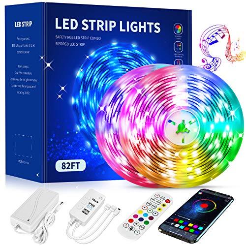 LED Strip Lights 82.5FT,Color Changing Led Strip Lights with Remote,App and Bluetooth Control,Led Lights Strips with Music sync,5050 LED Tape Lights,Smart Led Strip Lights for Bedroom,Kitchen