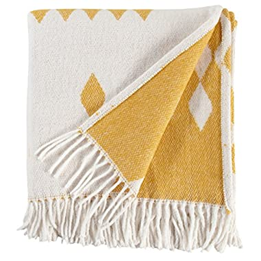 Rivet Colorful Geometric Diamond Jacquard Reversible Throw Blanket, 50 x60 , Mustard/White