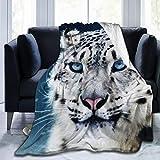 XTGOO Blue Eyed Snow Leopard Ultra-Soft Fleece Blanket Flannel Velvet Plush Throw Blanket