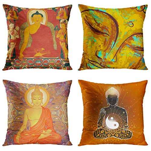 Britimes Throw Pillow Covers 18x18 Inches Home Decor Set of 4 Pillow Cases Decorative for Bed Sofa Cushion Couch Outdoor Pillowcases (Yellow Buddha Statue)