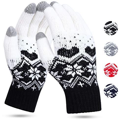 JORYEE Touchscreen Winterhandschuhe - Strick Handschuhe Fingerhandschuhe Warm Fäustlinge Strickhandschuhe Sport Fleecefutter Weihnachten Handschuhe Als Geschenk (Schnee-Schwarz)