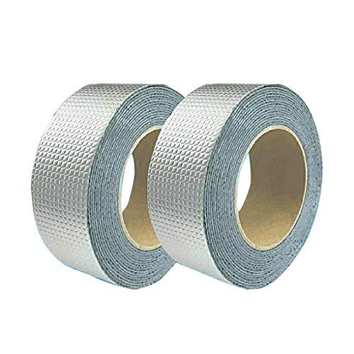 zzjj 2PCS Butyl Rubber Aluminum Foil Tape,Outdoor Waterproof Repair Tape,Self-Adhesive Heat Insulation High and Low Temperature Resistant Sealing Tape,for Repairing Roof Cracks (1mm Thickness)