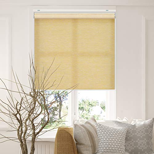 CHICOLOGY Cordless Roller Shades Snap-N'-Glide Privacy & Natural Perfect for Living Room/Bedroom/Nursery/Office and More, 27' W X 72' H, 3.Felton Cream (Natural Woven)