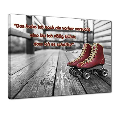 Keilrahmenbild mit Zitat - Das Habe ich noch nie vorher versucht. ! (Pippi Langstrumpf) 120x90 cm - Sprüche und Zitate - Kunstdruck mit Sprichwörtern - Vers - Bild auf Leinwand