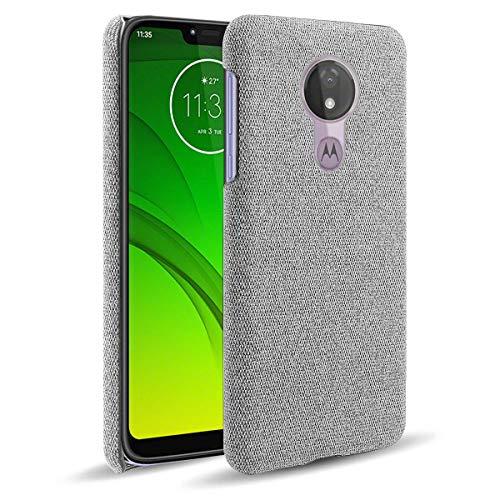 MOONCASE Capa para Moto G7 Power, textura de tecido macio ultrafina, antiimpressão digital, capa de proteção à prova de choque para Motorola Moto G7 Power 6,2 polegadas (cinza claro)
