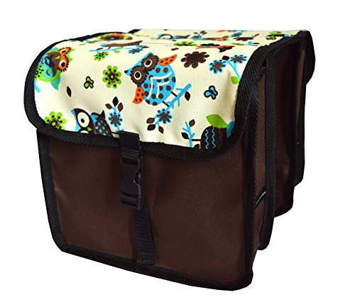 FAHRRADTASCHE Kinder Satteltasche Gepäckträgetasche Doppel 2 x 5l (3. Mini - Eule hell)