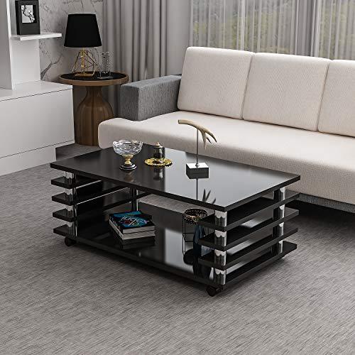 Couchtisch Zoe Schwarz Hochglanz mit Rollen 115 x 65 cm Tisch Wohnzimmertisch Sofatisch