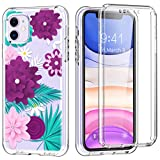 for iPhone 11 Case Built-in Screen Protector Honeach iPhone 11 Phone Case Full Body All Corner Shockproof Bumper Flower Rugged Clear Cover Protective Case (Purple)