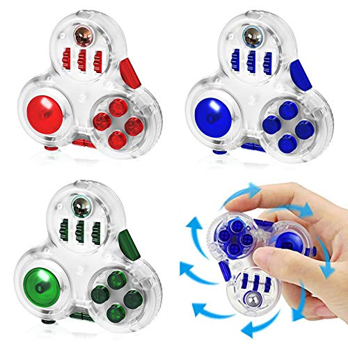 SOKACH Fidget Pad Spinner Anxiety Stress Relief Toy 10 Features Fidget Controller Focus Toy Silent Button Fidget Cube for Autism ADHD ADD OCD Kids Adults(Red)