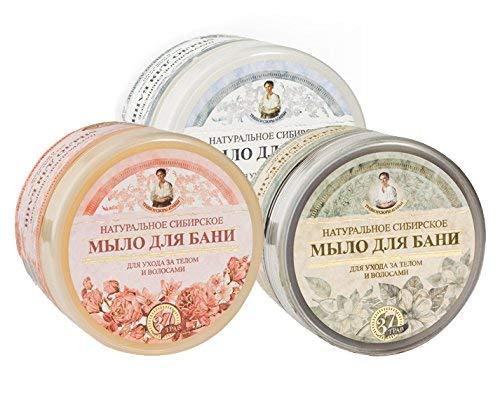 Natürliches Seifen Set Oma Agafia für Haare und Körper 3 verschiedene Seifen, 1,5L