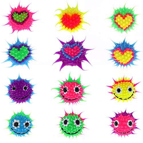 Pencil Toppers for Kids Girls Boys Students - Silicone Spiky Pencil Tops - Fun Fidget Sensory Aid Pencil Toppers - BPA,Phthalate,Latex Free (12 Pcs Heart/Smiley)