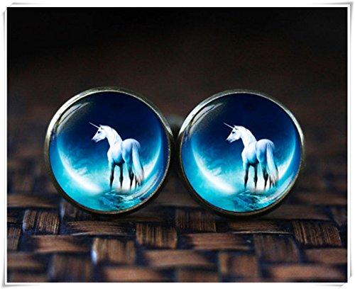 Einhorn-Manschettenknöpfe, Einhorn blauer Mond Manschettenknöpfe, Fantasie-Manschettenknöpfe