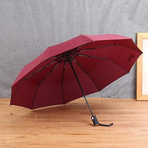 RSZHHL Paraguas Guarda-chuva dobrável com 3 dobras, Guarda-chuva automático Aberto de 5 Cores à Prova d' água Guarda-chuva dobrável com três dobras Espanha Vermelho