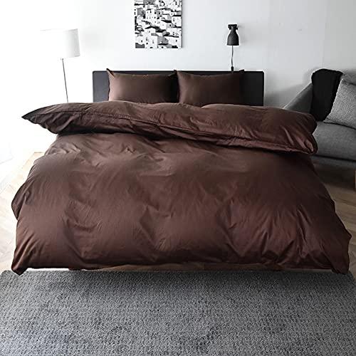 掛け布団カバー (ダブルサイズ 190x210cm ショコラブラウン) 日本製 綿100% サテン シルクのような滑らかさ 防ダニ 高級ホテル仕様 高密度生地 北欧 掛けカバー おしゃれ Noble(ノーブル)