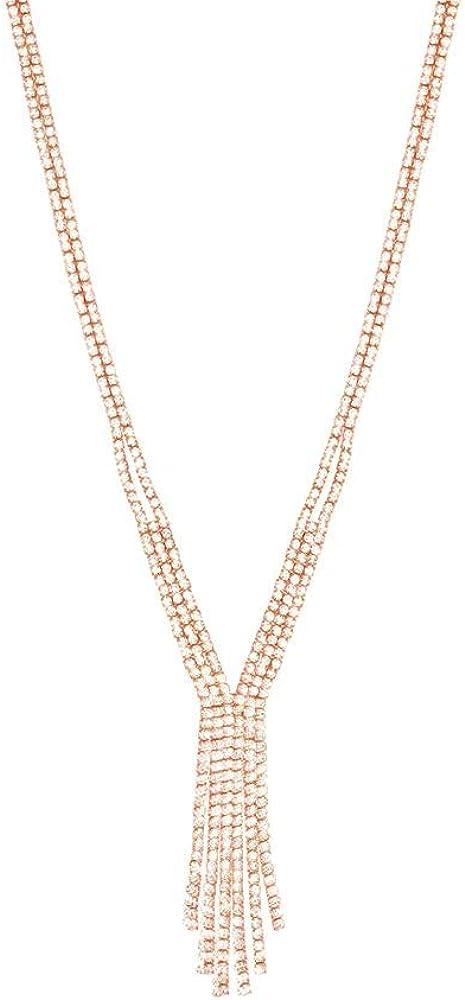 Stroili, collana per donna,  in metallo rosato con multifili, con strass 1668683