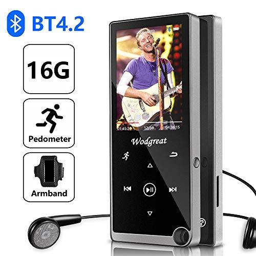 Reproductor MP3 Bluetooth, Wodgreat Reproductor MP3/MP4, 16GB Reproductor Música con Podómetro, Radio FM, Carcasa de Metal, Soporta hasta 128 GB (con Auriculares, Brazalete Deportivo)