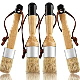 4 Pieces Chalk and Wax Brushes Include Flat and Round Chalked Paint Brush with Bristles, Multi-use Wax and Stencil Brushes for Chairs, Dressers, Cabinets and Other Wood Furniture