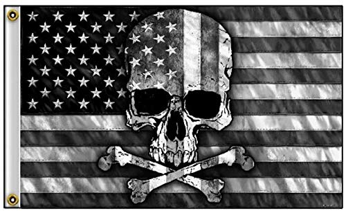 Lordzables Black and White American Flag with Skull & Crossbones 3' x 5' Flag