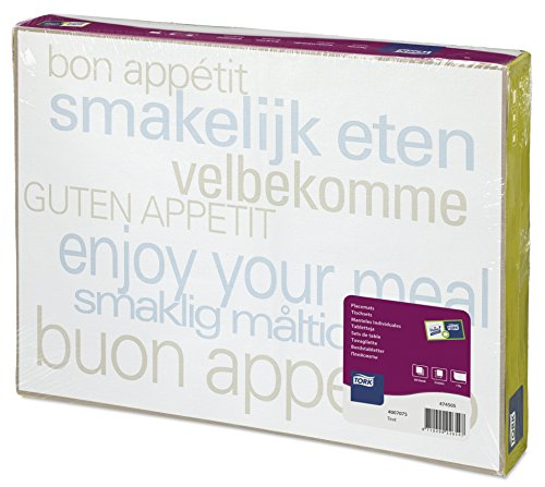 """Tork 474505 Manteles individuales desechables decorados con la frase""""buen provecho"""" / Advanced / 1 capa/Salvamanteles de papel con motivo / 500 manteles / 42 cm x 31 cm"""