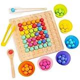 Taloit Juguete de entrenamiento de concentración de cuentas de clip de madera, rompecabezas juego de tablero clip cuentas juguetes educativos, arco iris para niños juguetes educativos tempranos