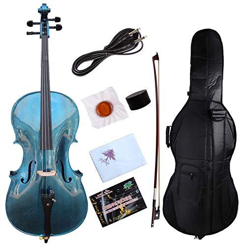 Yinfente Elektro-Akustik-Cello 4/4 aus massivem Ahorn-Fichtenholz, Beschläge aus Ebenholz, süßer Klang mit Cello-Tasche blau