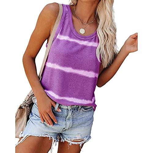 T-Shirt Mujer Simplicidad Cómoda Verano Cuello Redondo Camisola Mujer Tops Moda Sexy Anchas Rayas Impresión Sin Mangas Diseño Diario Casual Suelto All-Match Mujer Blusa E-Purple XL